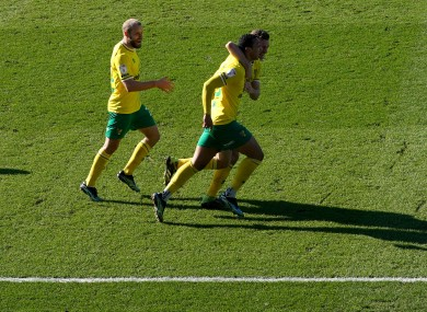 Adam Idah and his team-mates celebrate his late goal yesterday.