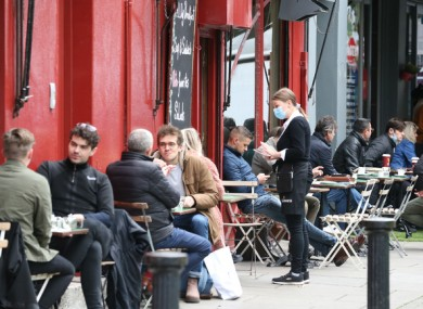 People dining outdoors in Dublin last October.