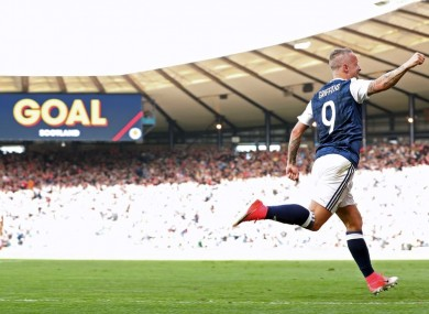 Leigh Griffiths celebrates a Scotland goal during better days.