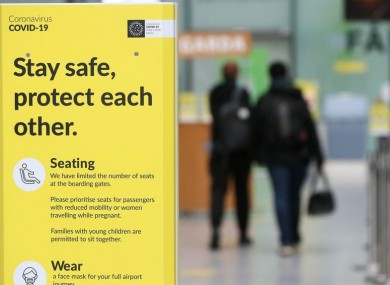Covid-19 signs at Dublin Airport (file photo)