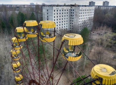 An abandoned Ferris wheel in the ghost town of Pripyat, close to the Chernobyl nuclear plant.