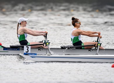 Ireland's Aoife Casey and Margaret Cremen competing in the A/B Semi-Final.