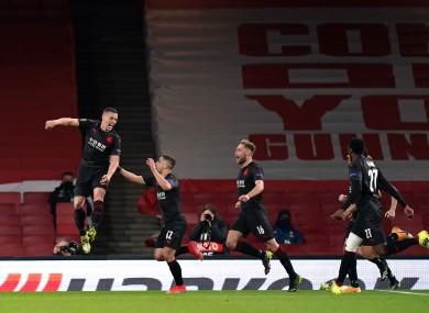Tomas Holes celebrates after his late goal for Slavia Prague.