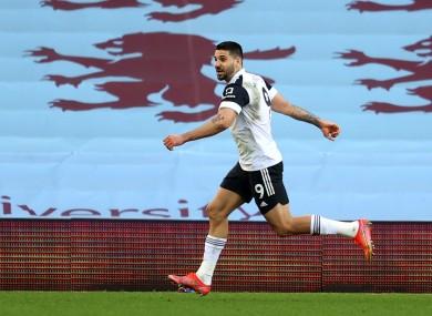 Fulham's Aleksandar Mitrovic celebrates scoring.