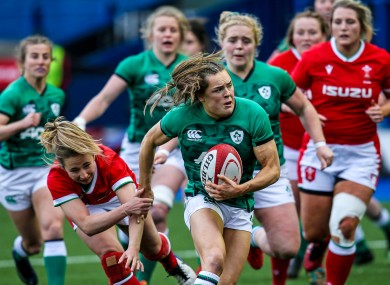 Beibhinn Parsons, centre, starred for Ireland against Wales on Saturday.