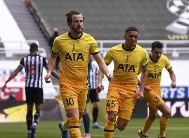 Tottenham's Harry Kane celebrates after scoring.