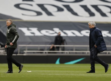 Solskjaer and Mourinho after today's game.