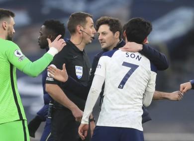 Ryan Mason celebrating the win over Southampton with Hugo Lloris and Heung-Min Son on Wednesday.