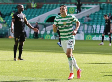 Celtic's Mohamed Elyounoussi celebrates scoring their side's fifth goal of the game.