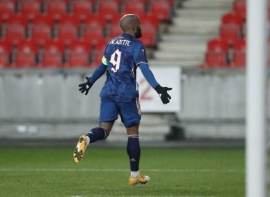 Arsenal's Alexandre Lacazette celebrates.