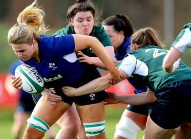 Dorothy Wall carrying during Ireland training.