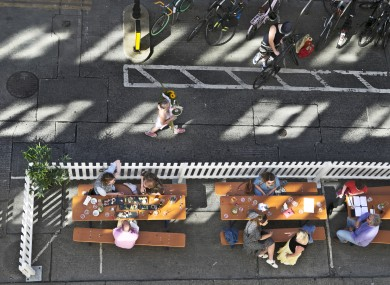 People enjoying outdoor dining on Dame Court in Dublin last summer.