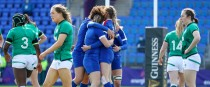 Emilie Boulard of France celebrates a try against Ireland.