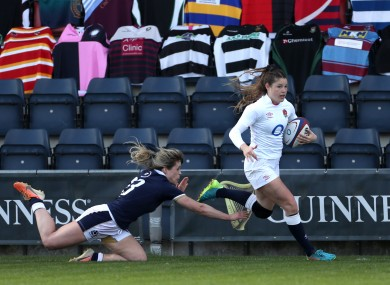 Breach gets clear of a tackle en route to her first-half try.