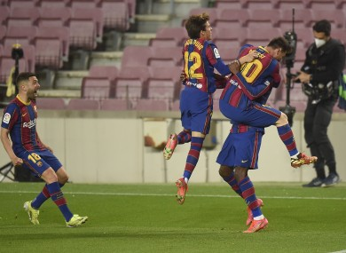 Barca celebrate Dembele's stoppage-time winner.