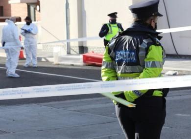 Gardaí at the scene of the shooting on Eugene Street in Dublin in February.