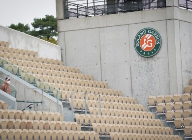 A view of an empty Roland-Garros last year.