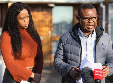 George Nkencho's sister Gloria and father Frank speak to the media.