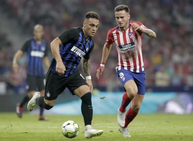 Inter striker Lautaro Martinez and Saul Niguez of Atletico Madrid.
