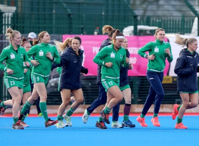 Ireland players warming up before their March tie against Great Britain.