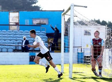 Sligo's Johnny Kenny scores a goal.