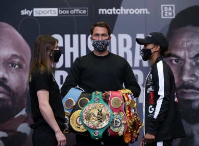Taylor, Hearn and Jones at the weigh-in.