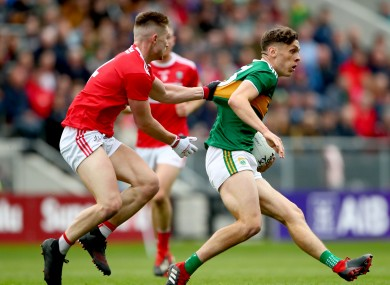 Cork's Kevin Flahive and David Clifford of Kerry in action during the 2019 Munster final.