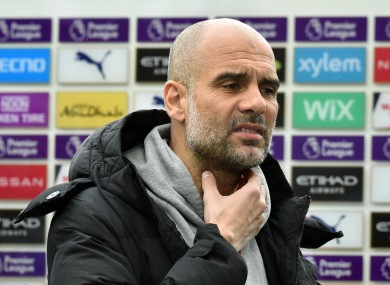 Manchester City manager Pep Guardiola pictured at the Etihad Stadium yesterday.