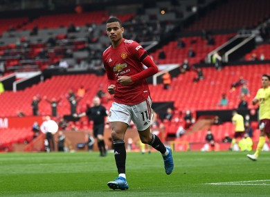 Mason Greenwood celebrates after scoring the second goal for Manchester United against Burnley.