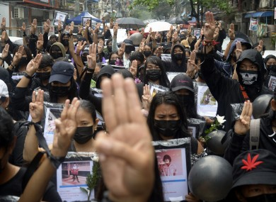 Protestors gathered to pray for those who have died in protests in Myanmar