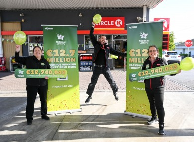Staff at the Circle K petrol station in Kilkenny that sold the winning Lotto jackpot ticket.