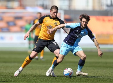 Wes Hoolahan (right) in action today against Newport County.
