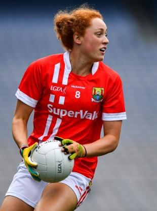 Cork's Niamh Cotter drives forward during the 2019 TG4 All-Ireland senior championship semi-final against Dublin at Croke Park.