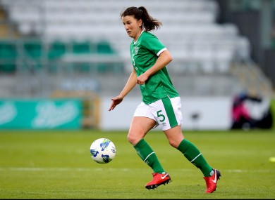 Niamh Fahey on the ball against Denmark.