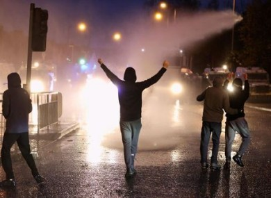 The PSNI used a water cannon in West Belfast.