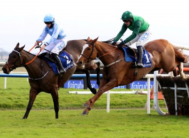 Paul Townend on Concertista (green) jumping the last to beat Rachael Blackmore on Minella Melody at Fairyhouse in November.