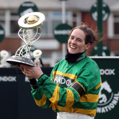 Rachael Blackmore celebrates after the Aintree Grand National.