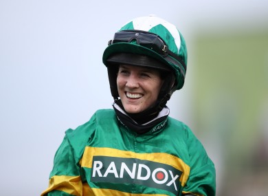 Rachael Blackmore celebrates after winning on Minella Times.