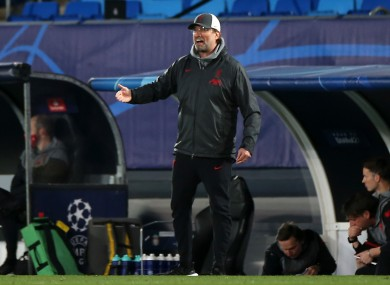 Liverpool manager Jurgen Klopp reacts during the Uefa Champions League match.