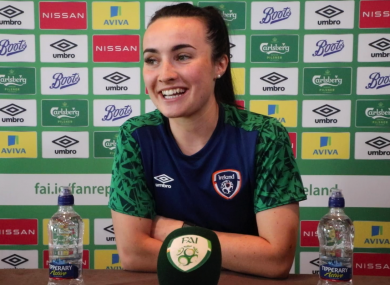 Republic of Ireland international Niamh Farrelly speaking to the media via video conference earlier today.