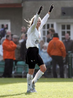 Sonia Hoey celebrates after the 2005 FAI Cup final - in which she scored the winner.