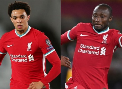 Reds pair Trent Alexander-Arnold and Naby Keita.