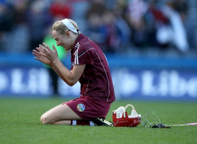 Therese Maher celebrates after Galway's All-Ireland win in 2013.