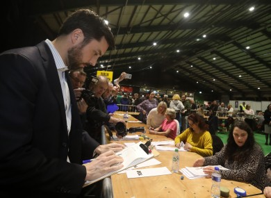 Eoghan Murphy checking the figures at the election 2020 count centre in Dublin.