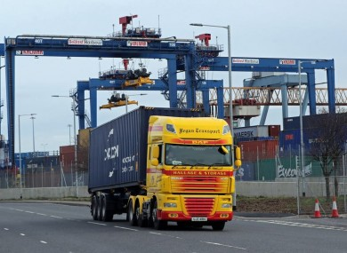 File photo. A freight lorry leaving Belfast Port.