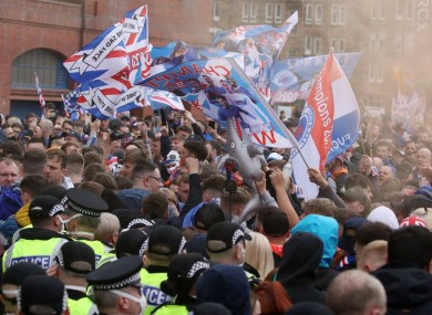 Rangers fans outside the ground before the game against Aberdeen.
