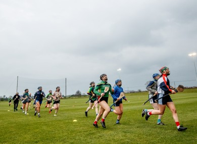 A view of the Offaly camogie team training.