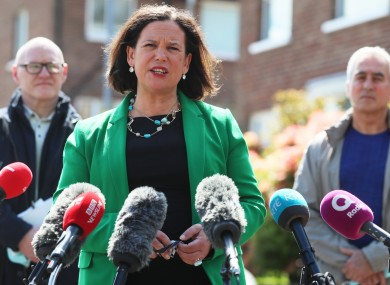 Sinn Féin leader Mary Lou McDonald speaks to the media in Ballymurphy, Belfast, after meeting with the families of people who were killed in the Ballymurphy massacre