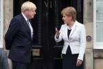 Scotland's First Minister Nicola Sturgeon and UK Prime Minister Boris Johnson outside Bute House in Edinburgh.