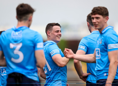 Dublin players celebrate at full-time.